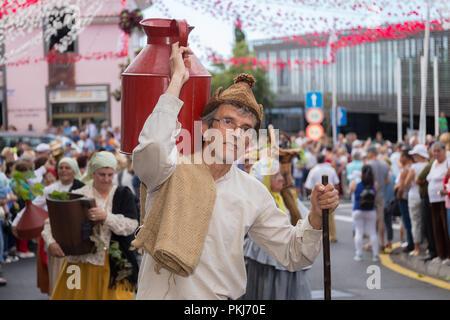 Parade of Madeira Wine Festival or 'Festa do Vinho Madeira' in Estreito de Camara de Lobos, Madeira Island, Portugal, September 2018. - Stock Photo