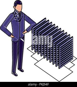 businessman with server data center isometric icon vector illustration design - Stock Photo
