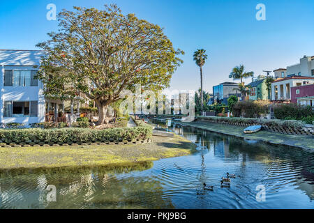 Venice canals in Los Angeles, California - Stock Photo