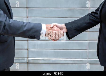 A male and female executive shaking hands - Stock Photo