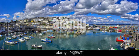 GB - DEVON: Panoramic view of Brixham harbour and town (HDR-Image) - Stock Photo