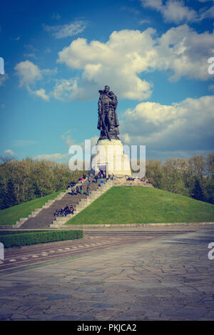 Memorial in Treptower Park for Unknown Soviet Soldier. Photograph was made before celebration of 70 years anniversary Victory Day in Secon World War. - Stock Photo