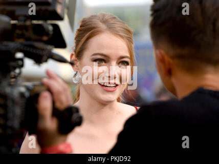 Photo Must Be Credited ©Alpha Press 079965 13/09/2018 Emma Stone at the Maniac World TV Premiere held at the Southbank Centre in London - Stock Photo