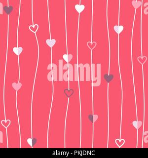 Hearts thread vector seamless pattern Abstract string pink texture of geometry background - Stock Photo