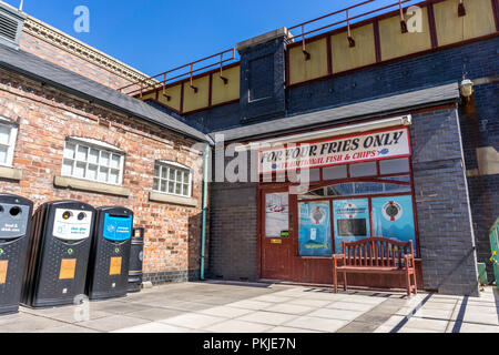 For your fries only, fish and chip shop, Rosamund Street, Coronation Street, The Studios from dock10, MediaCity UK, Salford M50 2EQ - Stock Photo