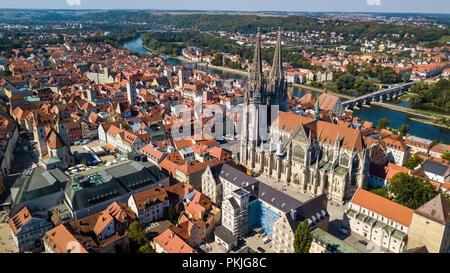 St Peter Cathedral or Dom St Peter or Regensburger Dom, Regensburg, Bavaria, Germany - Stock Photo
