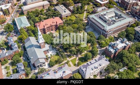 Harvard Yard, Grossman Library, Widener Library and Memorial Church, Harvard University, Boston, MA, USA - Stock Photo