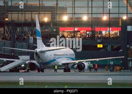 Bulgarian Cargo Air Boeing 737-400 in Gdansk Lech Walesa Airport in Gdansk, Poland. September 12th 2018 © Wojciech Strozyk / Alamy Stock Photo - Stock Photo