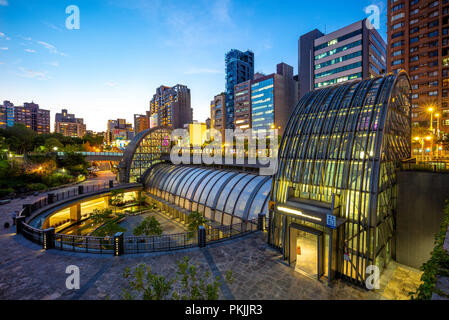 night view of daan park station in taipei - Stock Photo