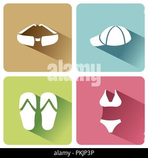 Summer clothes icons with shadow on a white background. Vector illustracion - Stock Photo
