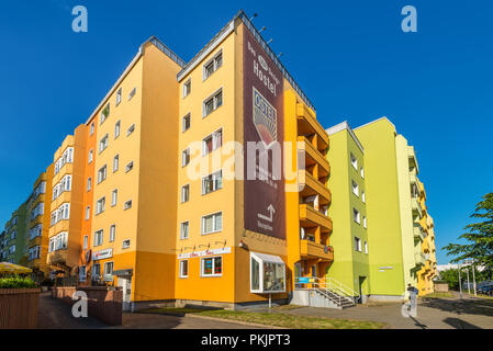 Berlin, Germany - May 26, 2017: The Colorful DDR Design OSTEL Hostel Berlin in Germany. It's like a journey back in time to the East Berlin of the sev - Stock Photo