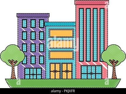 buildings city facade trees town scene vector illustration - Stock Photo
