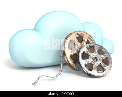 Cloud icon with movies tapes 3D rendering isolated on white background - Stock Photo