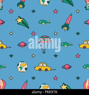 Blue seamless pattern for design with car, a rocket and balloons. - Stock Photo