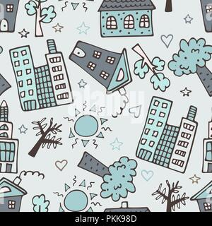 Light seamless pattern with skyscrapers, houses, and trees. - Stock Photo