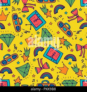 Fashion seamless pattern with the tape recorder, TV, and doodles. - Stock Photo