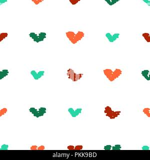 Cute seamless pattern with unusual bright hand-drawn hearts. - Stock Photo