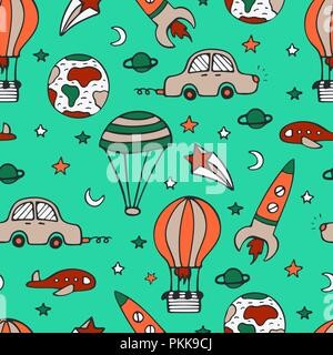 Bright seamless pattern for design with car, a rocket and balloons. - Stock Photo