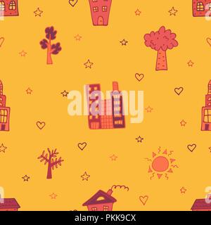 Orange seamless pattern with skyscrapers, houses and trees. - Stock Photo