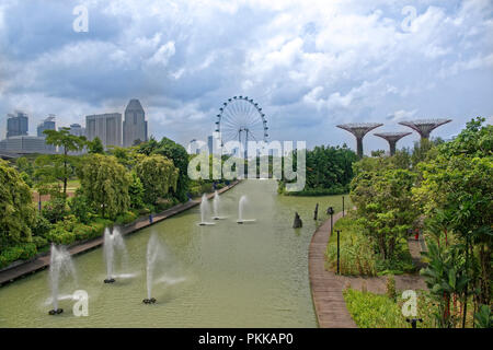 Singapore, Singapore- August 07, 2018: View of Dragonfly Lake - Stock Photo