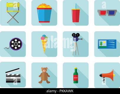 A set of vector color icons for cinema and movies. - Stock Photo