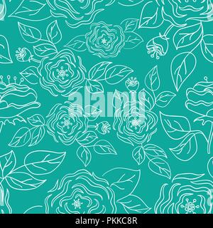 Seamless flower pattern. Hand-drawn vector illustration. - Stock Photo