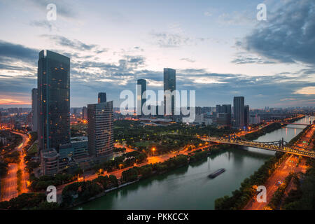 Wuxi city in jiangsu province construction at night - Stock Photo