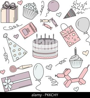 A set of color elements for a birthday. White background. - Stock Photo