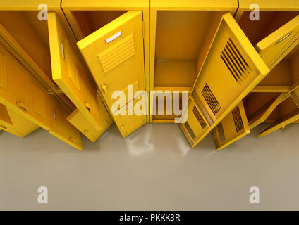 A flat look at a well lit stack of open empty yellow lockers in a school hallway - 3D render - Stock Photo