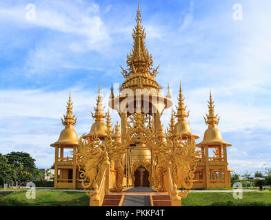 Chiangrai, Thailand - September 01, 2018: Wat Rong Khun (White Temple) is one of most favorite landmarks tourists visit in Thailand, built with modern - Stock Photo