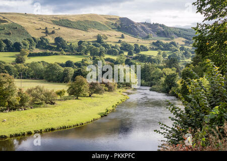 The River Dee in the picturesque Vale of llangollen, Wales, UK - Stock Photo