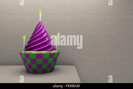 Tasty cupcake on table. Birthday cupcake. 3d rendering - Stock Photo