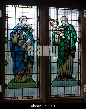 Stained glass window in St. Mary in Charnwood Church, Nanpantan, Leicestershire, England, UK - Stock Photo