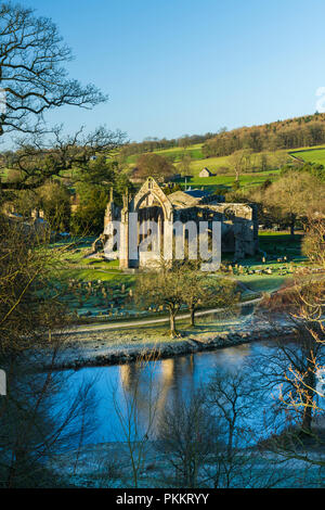 Blue sky over River Wharfe, scenic Bolton Abbey priory ruins & beautiful Yorkshire Dales countryside on frosty day -  North Yorkshire, England, UK - Stock Photo