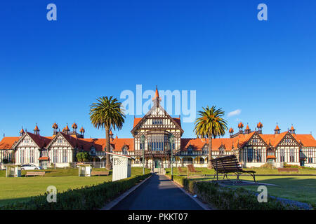 Rotorua Museum of Art and History located in the Government Gardens in Rotorua, New Zealand Bay of Plenty, North Island, NZ - Stock Photo