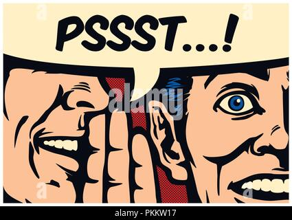 Pop Art style comic book panel gossip man whispering secret or news in ear of surprised person with speech bubble, word-of-mouth vector illustration - Stock Photo