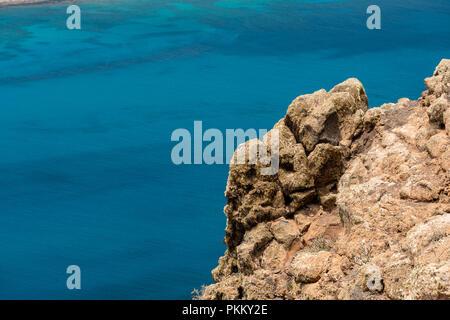 view of the coast of lanzarote from the mirador del rio - Stock Photo