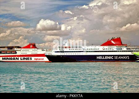 Ferries at the port of Piraeus, Greece, September 23 2015. - Stock Photo