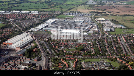 aerial view of the Bentley factory at Crewe, Cheshire - Stock Photo