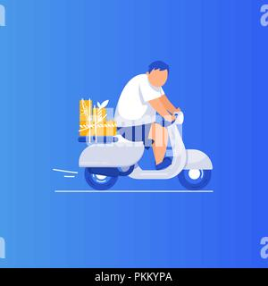 Young man riding  scooter motor bike in flat style vector  illustration. Gift delivery - Stock Photo