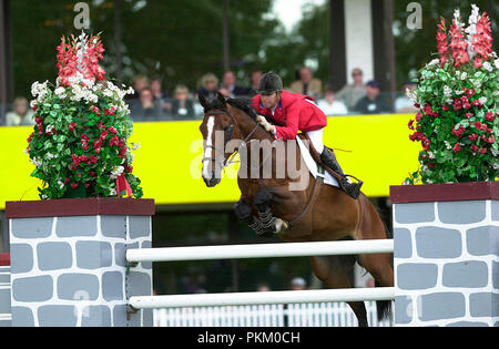The National, Spruce Meadows, June 2001, Laura Kraut (USA) riding Anthem, Akita Drilling Cup - Stock Photo