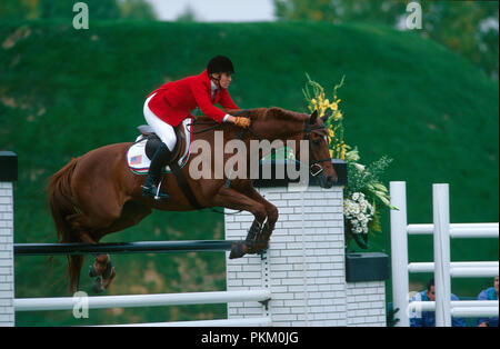 CSIO Masters, Spruce Meadows, September 1998, Anne Kursinski (USA) riding Eros - Stock Photo