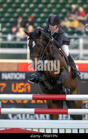 The National, Spruce Meadows June 2002, Lauren Hough (USA) riding Clasiko - Stock Photo