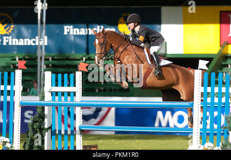 The National, Spruce Meadows June 2002, Lauren Hough (USA) riding Casadora - Stock Photo