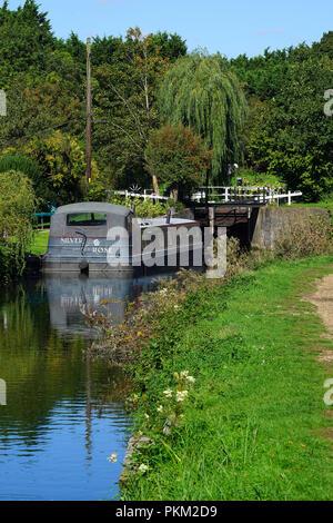 Lock on the Stort Navigation near Bishops Stortford - Stock Photo