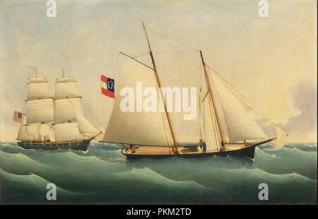 Capture of the 'Savannah' by the 'U.S.S. Perry'. Dated: 1861. Dimensions: overall: 59 x 91.2 cm (23 1/4 x 35 7/8 in.)  framed: 69.9 x 101.6 x 7 cm (27 1/2 x 40 x 2 3/4 in.). Medium: oil on canvas. Museum: National Gallery of Art, Washington DC. Author: Fritz Müller. Artist Unknown. - Stock Photo