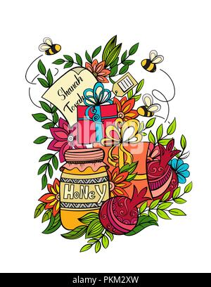 Rosh hashanah - Jewish New Year greeting card template with apples, honey, pomegranates and holiday gifts. Hand drawn vector illustration. Isolated on white background. - Stock Photo