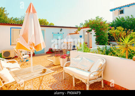 House Terrace in Costa Smeralda in Sardinia in Italy - Stock Photo