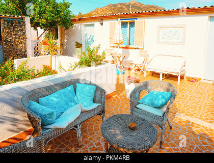 Street veranda in Costa Smeralda in Sardinia in Italy - Stock Photo