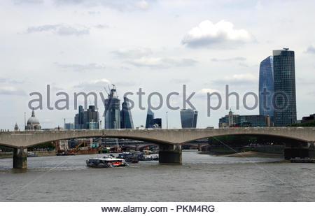 Waterloo Bridge and London Skyline August 2018 - Stock Photo
